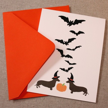 Happy Halloweener - Dachshund greeting card
